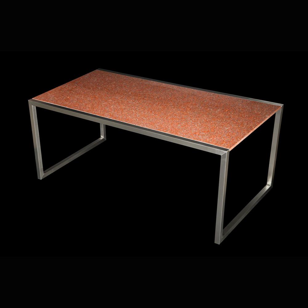 Rozsdamentes kerti asztal, gránit lappal